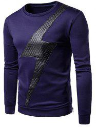 Artificial Plaid Leather Decorated Round Neck T-shirt -
