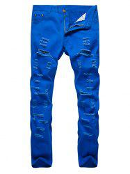 Zipper Fly Distressed Solid Color Jeans -