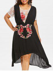 Plus Size Lace Trim High Low Dress -