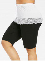 Plus Size Scalloped Lace Panel Bermuda Leggings -