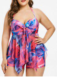 Plus Size Abstract Print Handkerchief Tankini Set -
