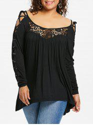 ROSEGAL Plus Size Criss Cross Lace Yoke T-shirt -