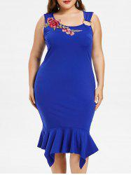 Plus Size Embroidery Handkerchief Fishtail Dress -