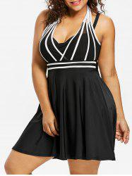 Plus Size String Skirted One Piece Swimsuit -
