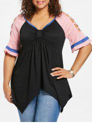 Plus Size Raglan Sleeve Handkerchief T-shirt -