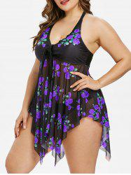 Plus Size Rose Print Handkerchief Tankini Set -