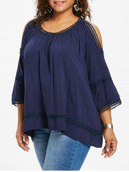 Open Shoulder Plus Size Crochet Trim Blouse -