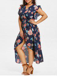 Plus Size Flower Frill Tulip Dress -