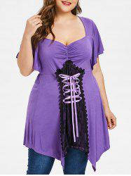 Plus Size Sweetheart Neck Handkerchief T-shirt -