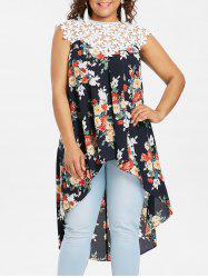 Plus Size Floral High Low Hem Tank Top -