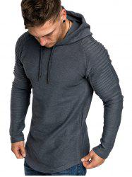 Pleated Solid Color Drawstring Hoodie -
