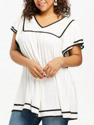 Plus Size Contrast Trim Butterfly Sleeve T-shirt -
