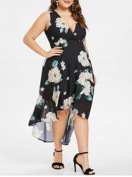 Plus Size Floral Plunging Neck High Low Dress -