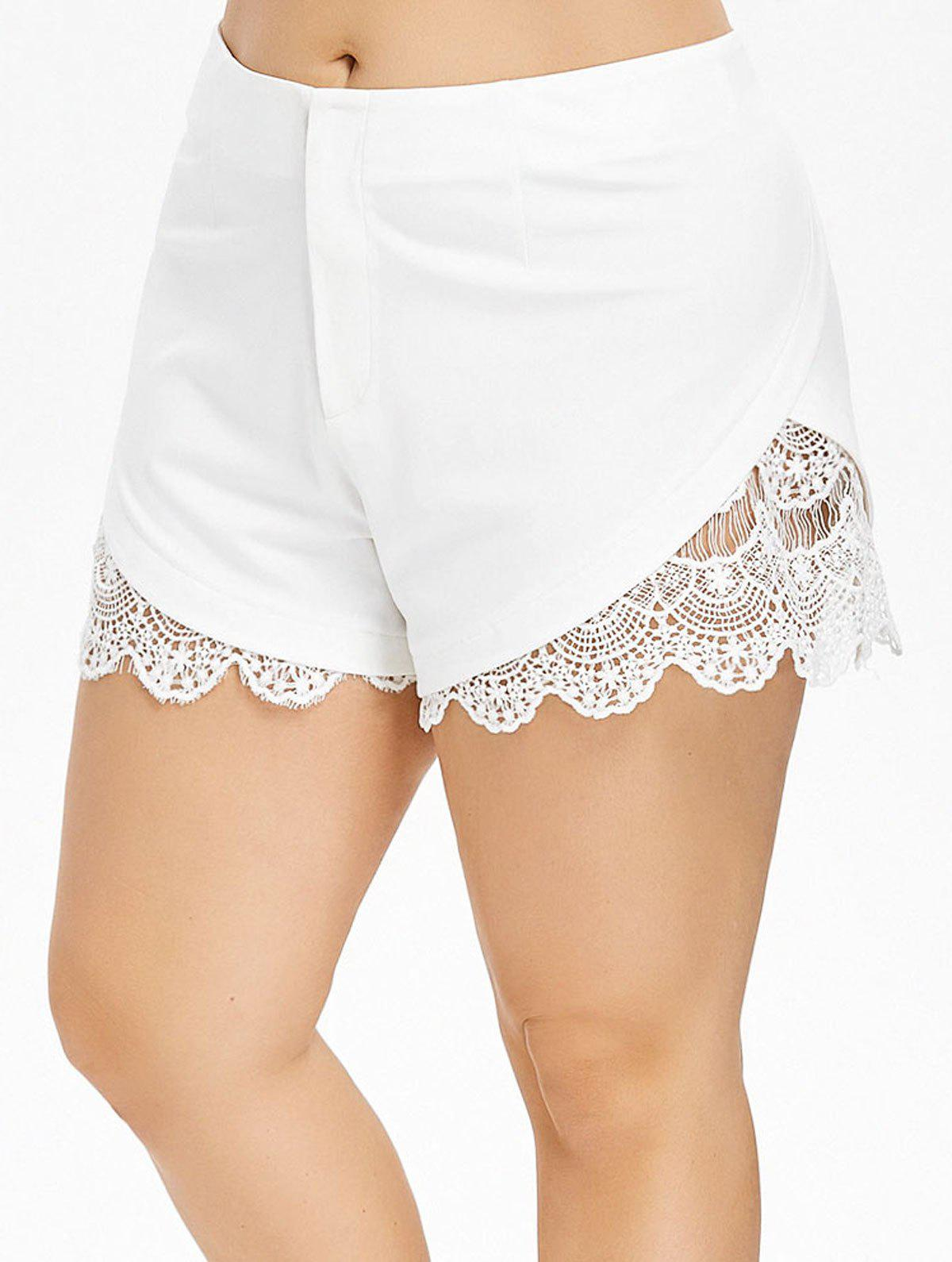 Best Plus Size Crochet Trim Dolphin Shorts