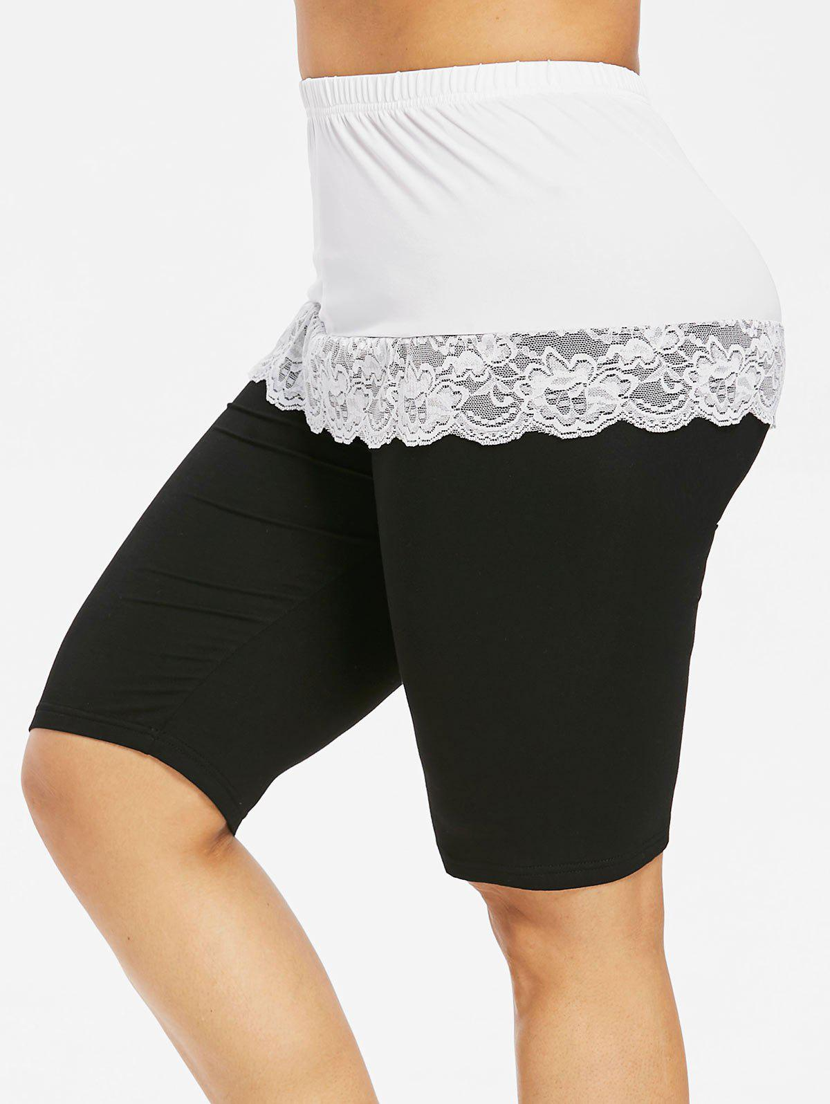 Hot Plus Size Scalloped Lace Panel Bermuda Leggings