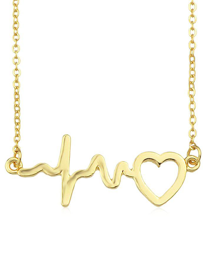 Cheap Hollow Out Electrocardiogram Heart Chain Necklace