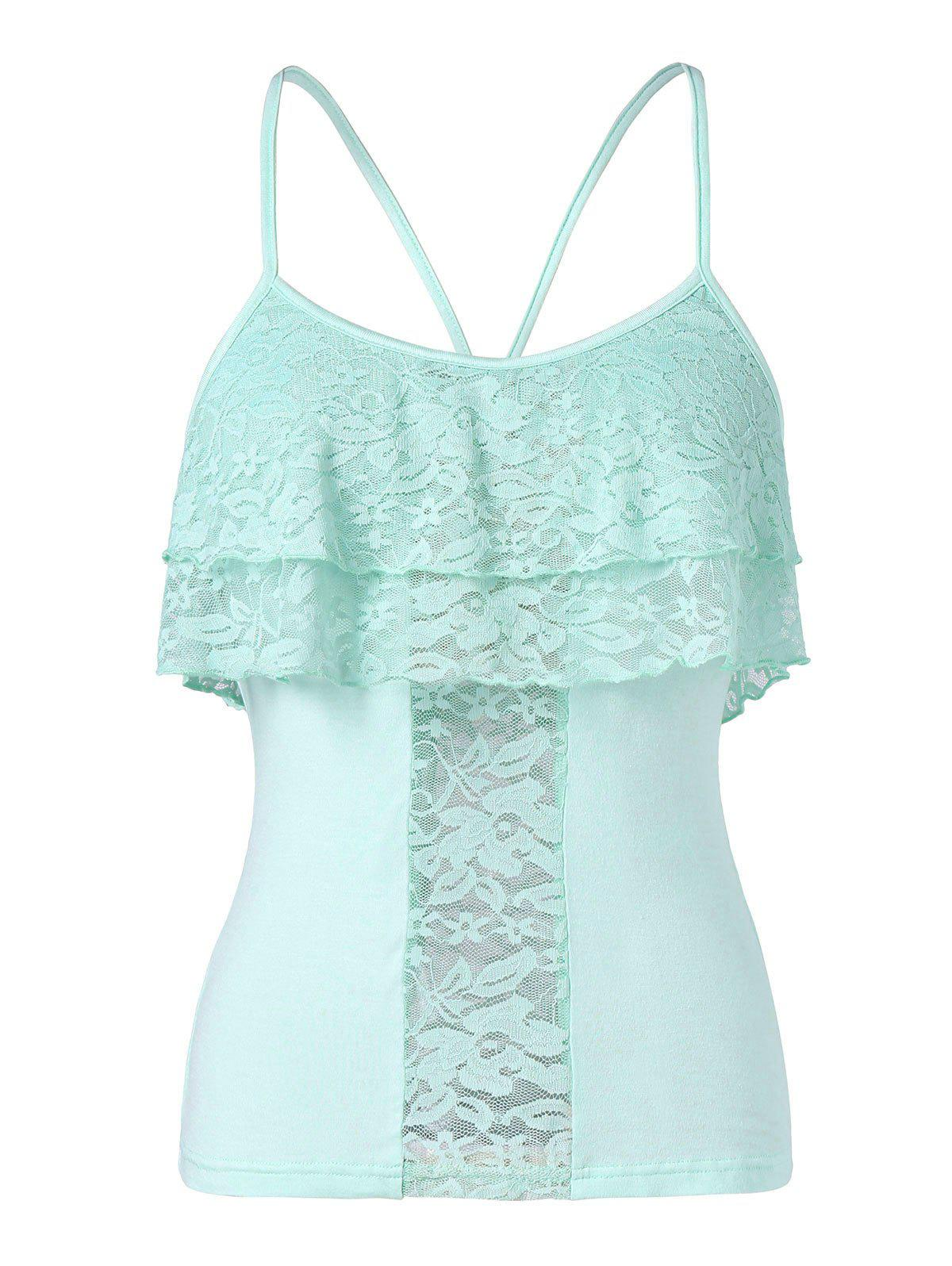 Fashion Lace Panel Cami Tank Top