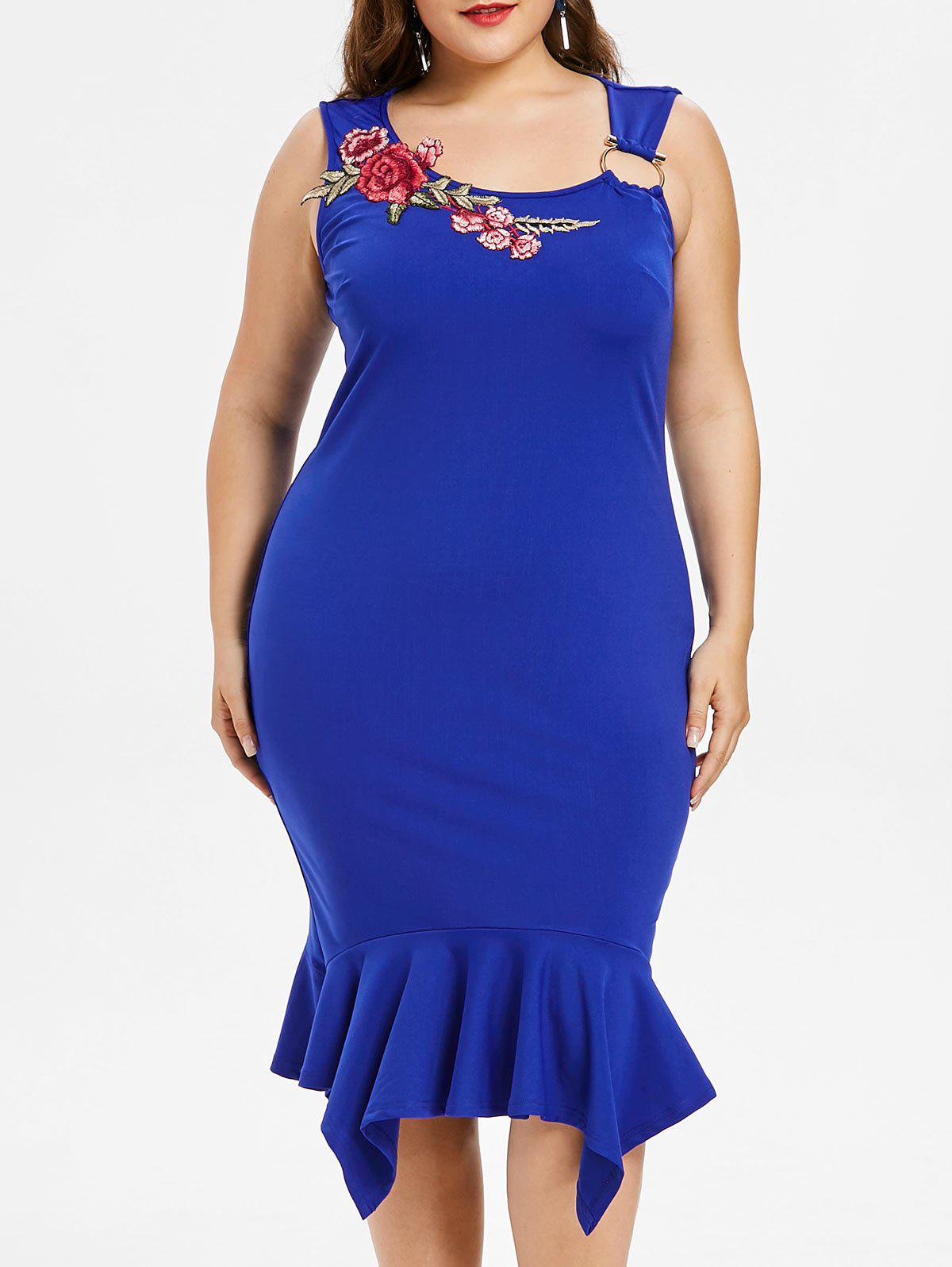 Fancy Plus Size Embroidery Handkerchief Fishtail Dress