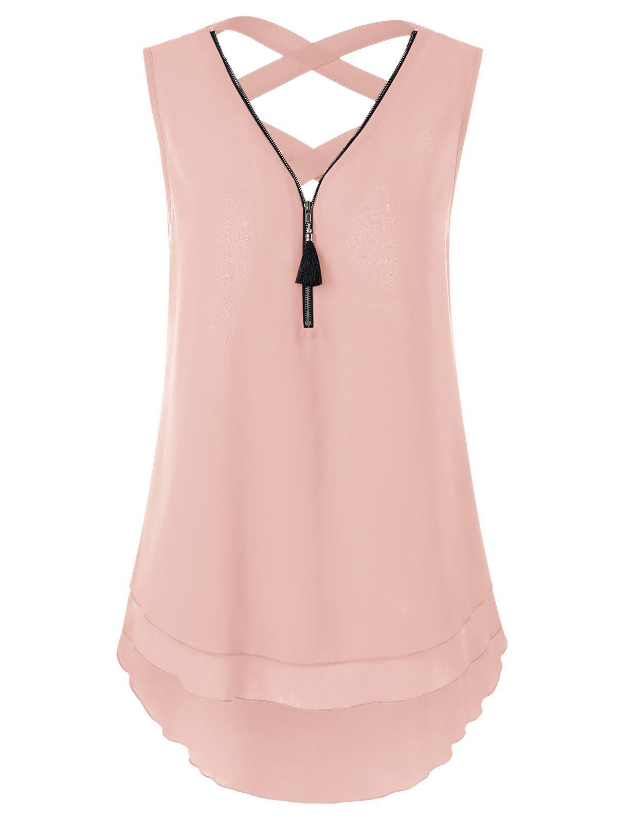 Best Criss Cross Layered High Low Tank Top