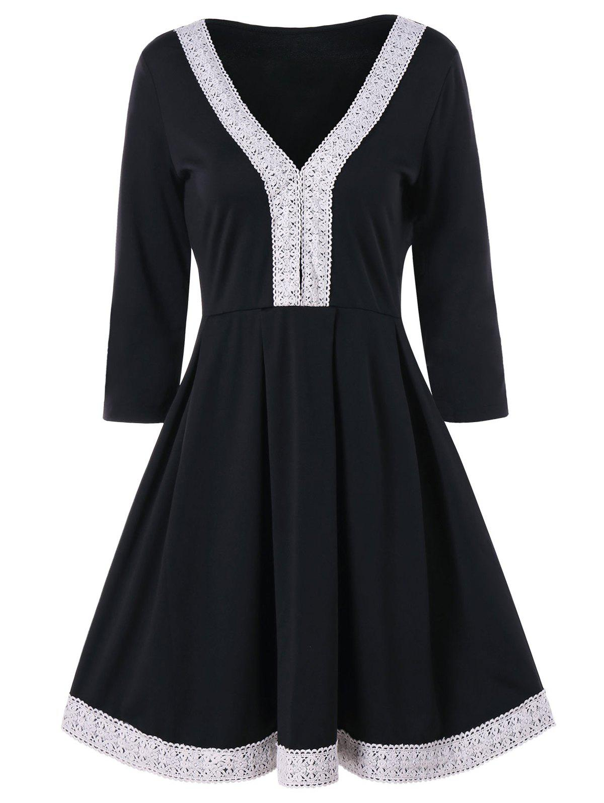 Hot Cochet Lace Trim Fit and Flare Dress
