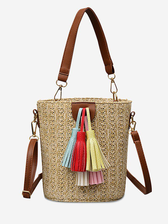 Store Tassels Decoration Bucket Shaped Straw Casual Tote Bag