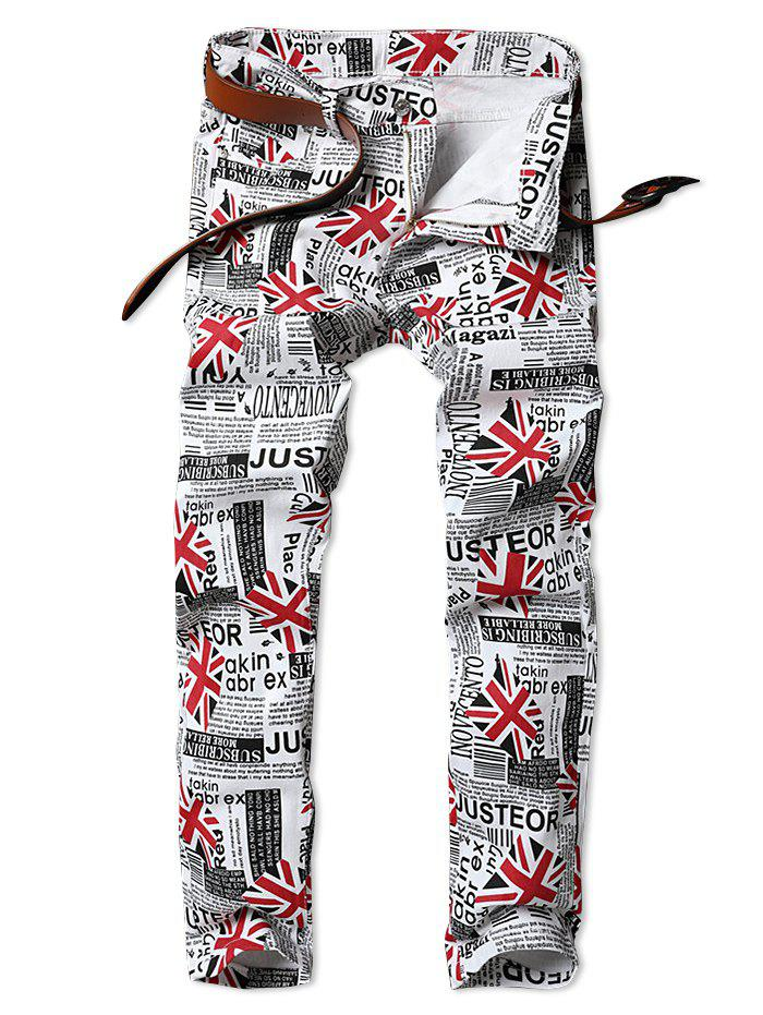 Store Union Jack Newspaper Inspired Zip Fly Jeans