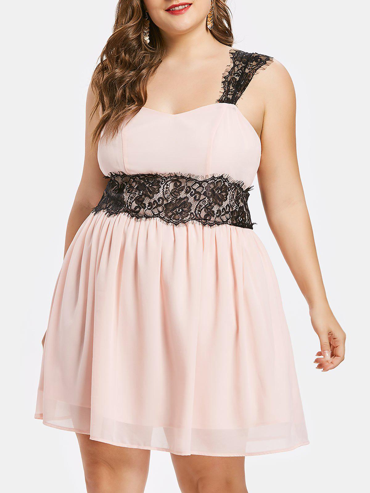 Online Plus Size Lace Panel Fit and Flare Dress