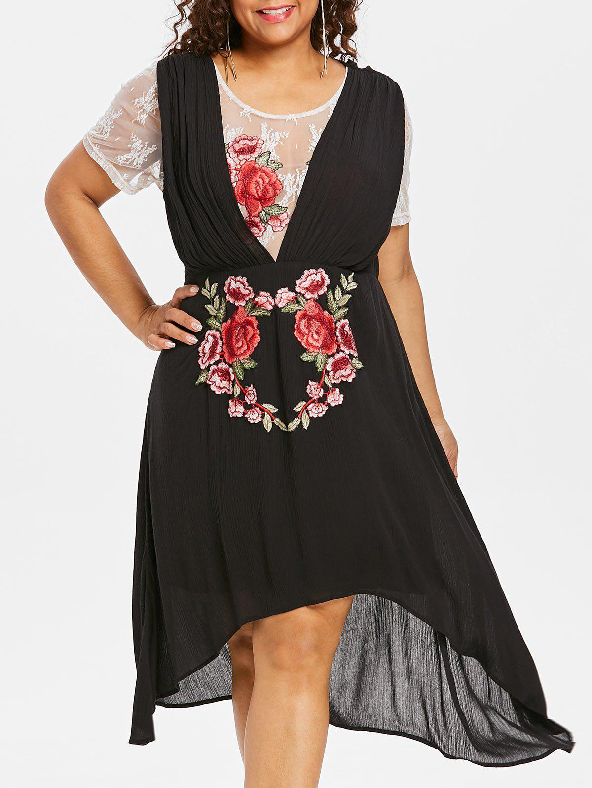 Shops Plus Size Lace Trim High Low Dress