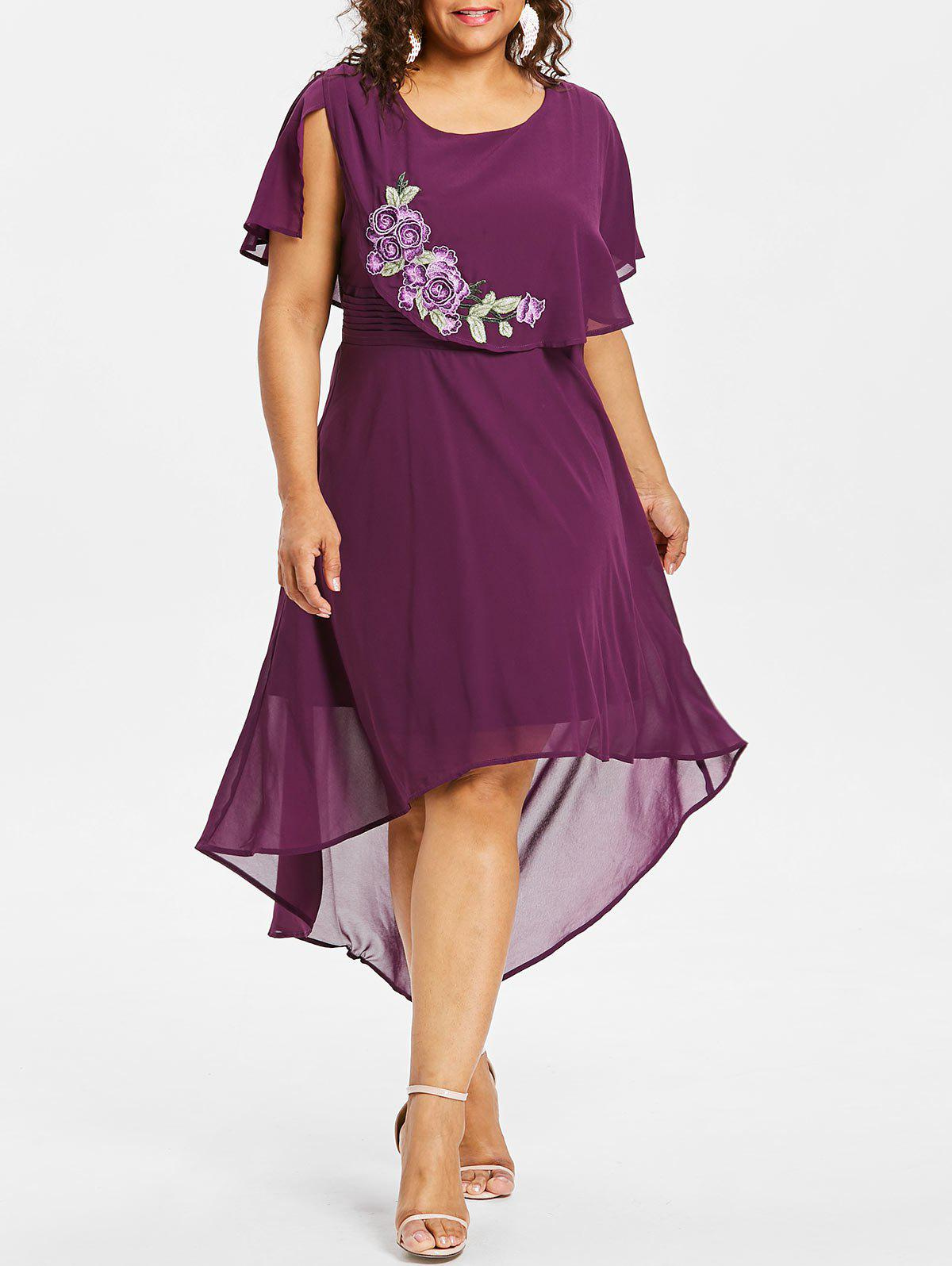 Sale Plus Size Embroidery Capelet Dress