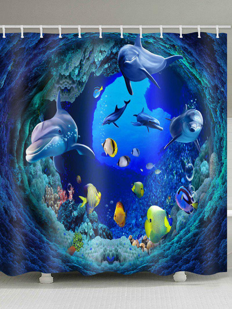 Fancy Tunnel Fishes Printed Waterproof Bath Curtain