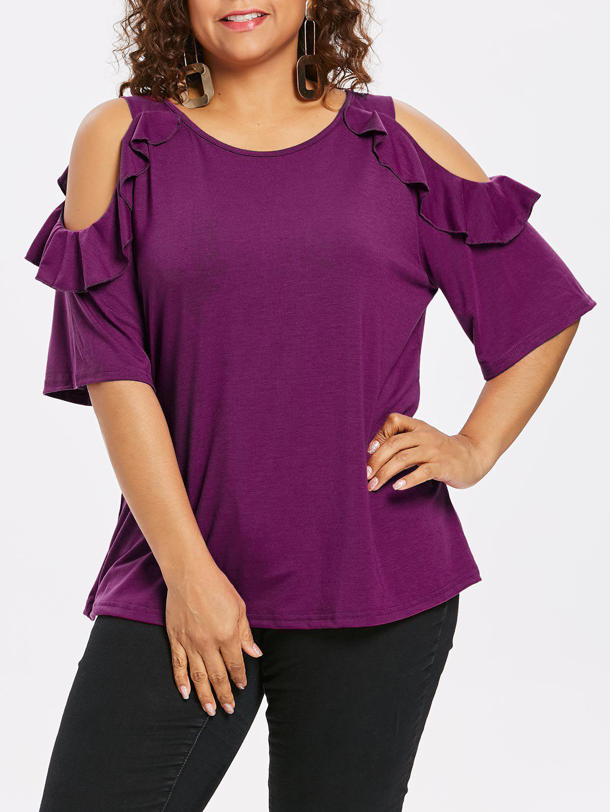 Outfits Plus Size Cold Shoulder Frill T-shirt