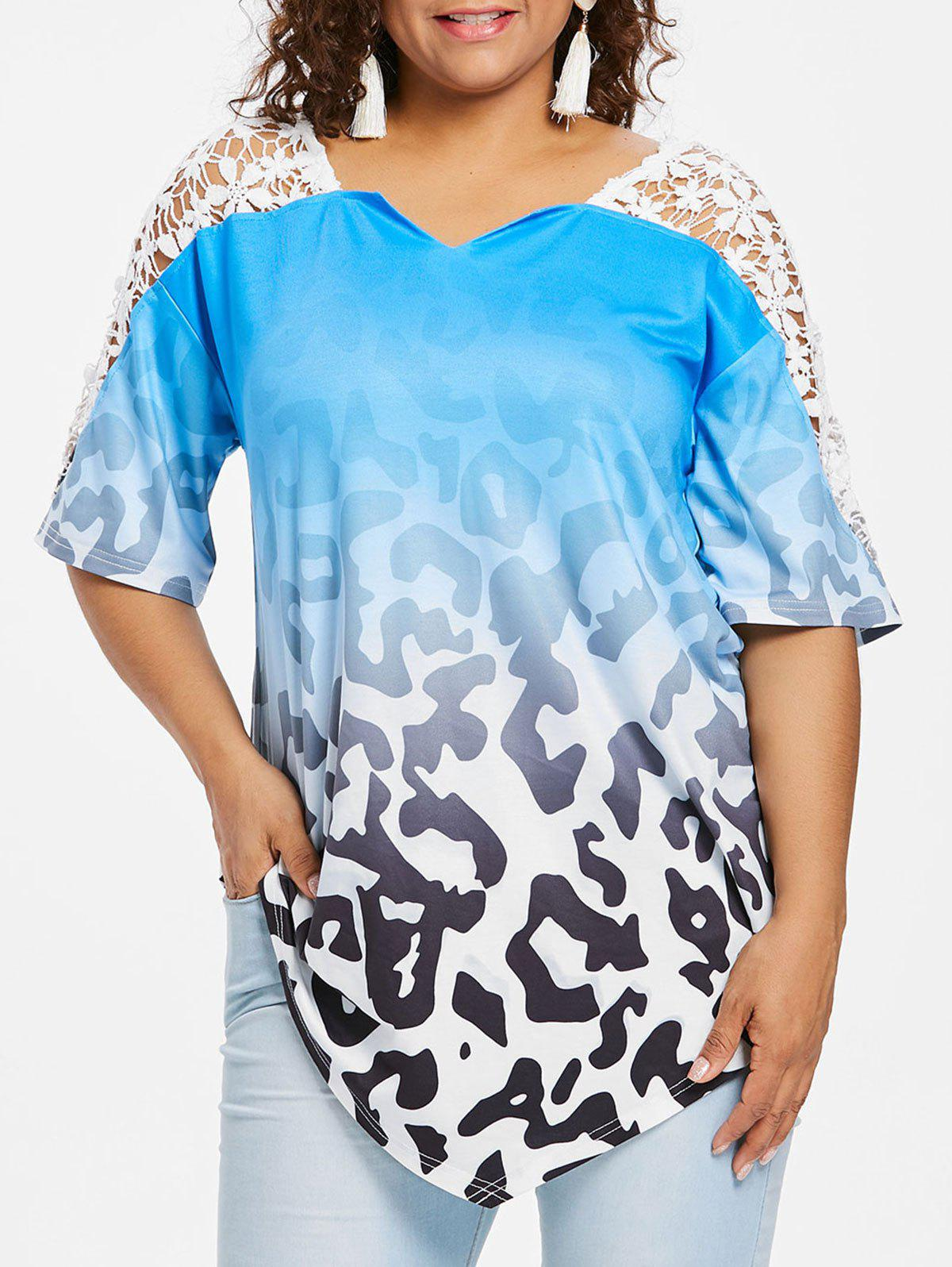 Store Plus Size Lace Insert Ombre Print Top