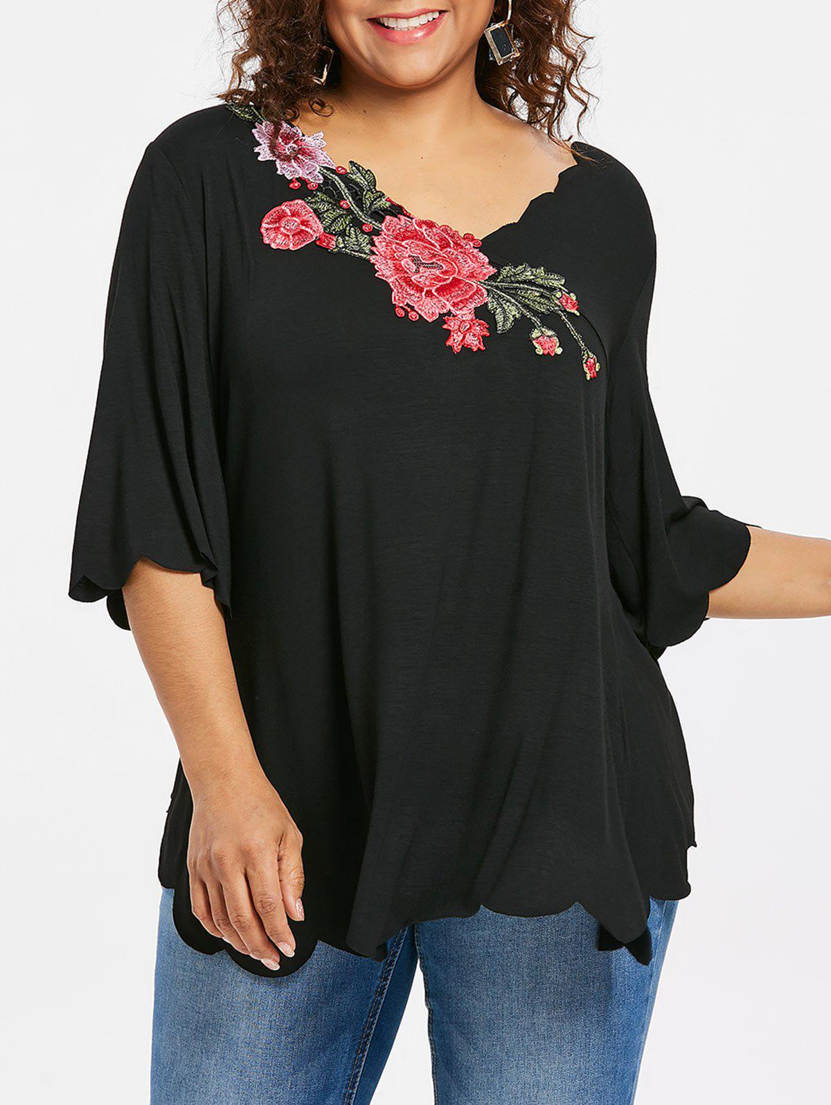 Outfits Plus Size V Neck Scalloped T-shirt