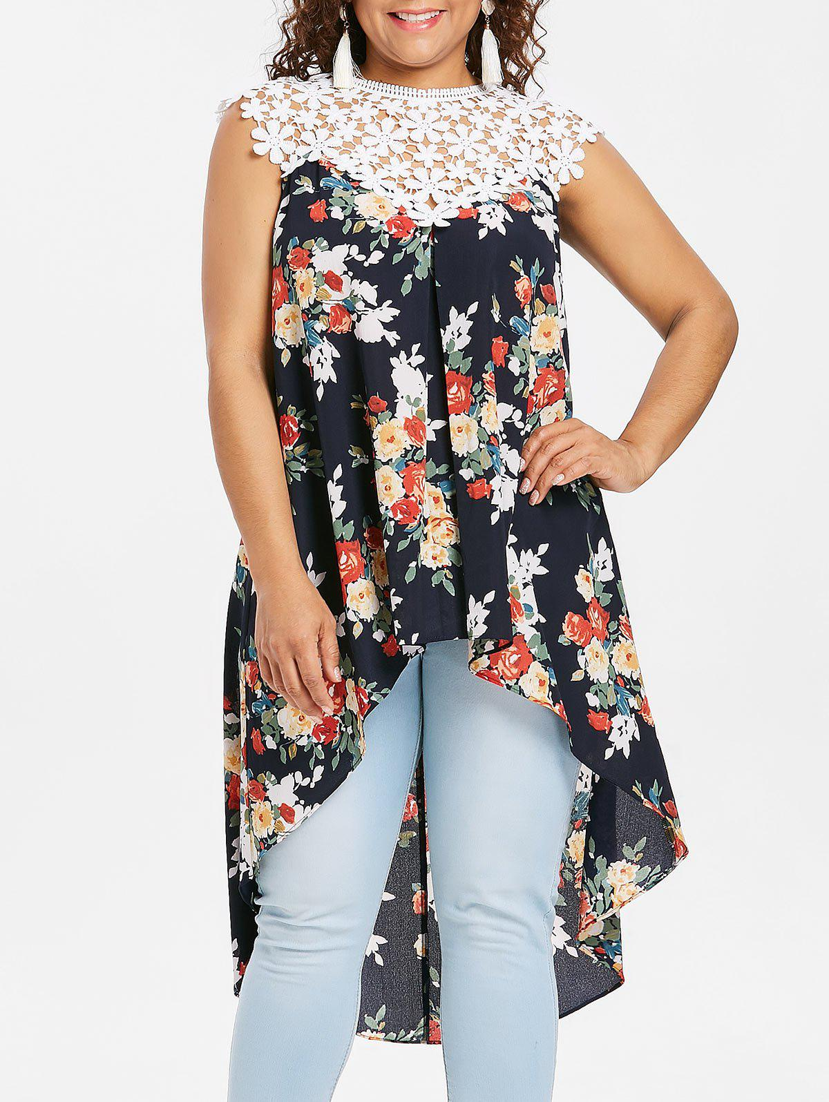 Fashion Plus Size Floral High Low Hem Tank Top