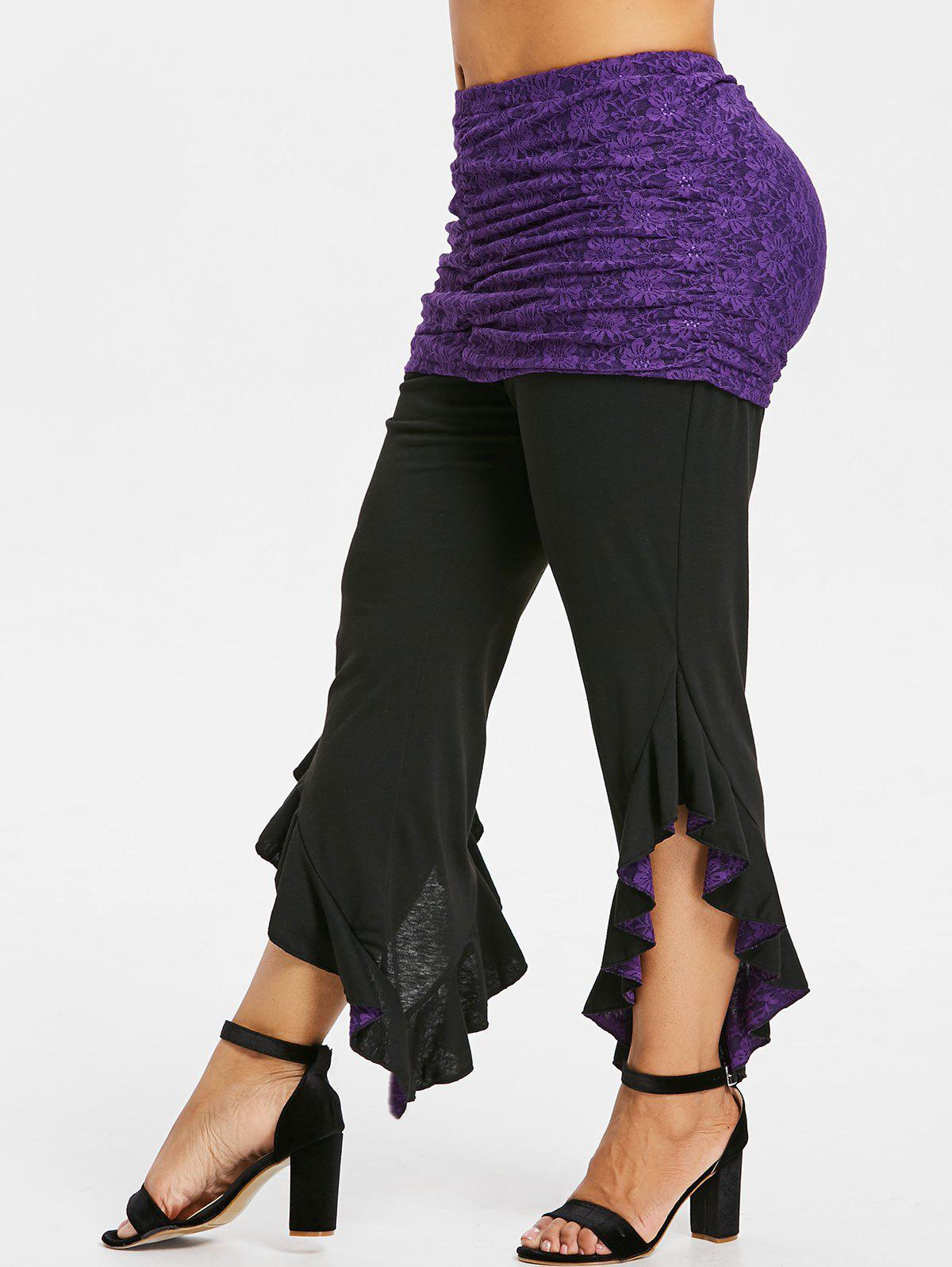 Affordable Rosegal Plus Size Ruffle Leggings with Lace Skirt