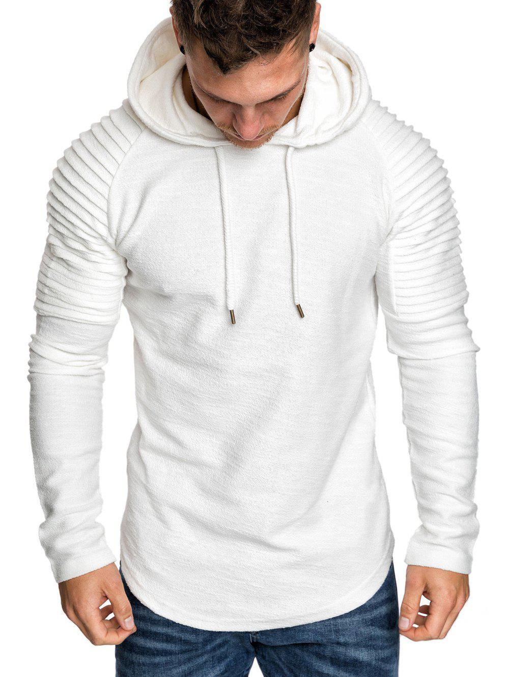 Fashion Pleated Solid Color Drawstring Hoodie