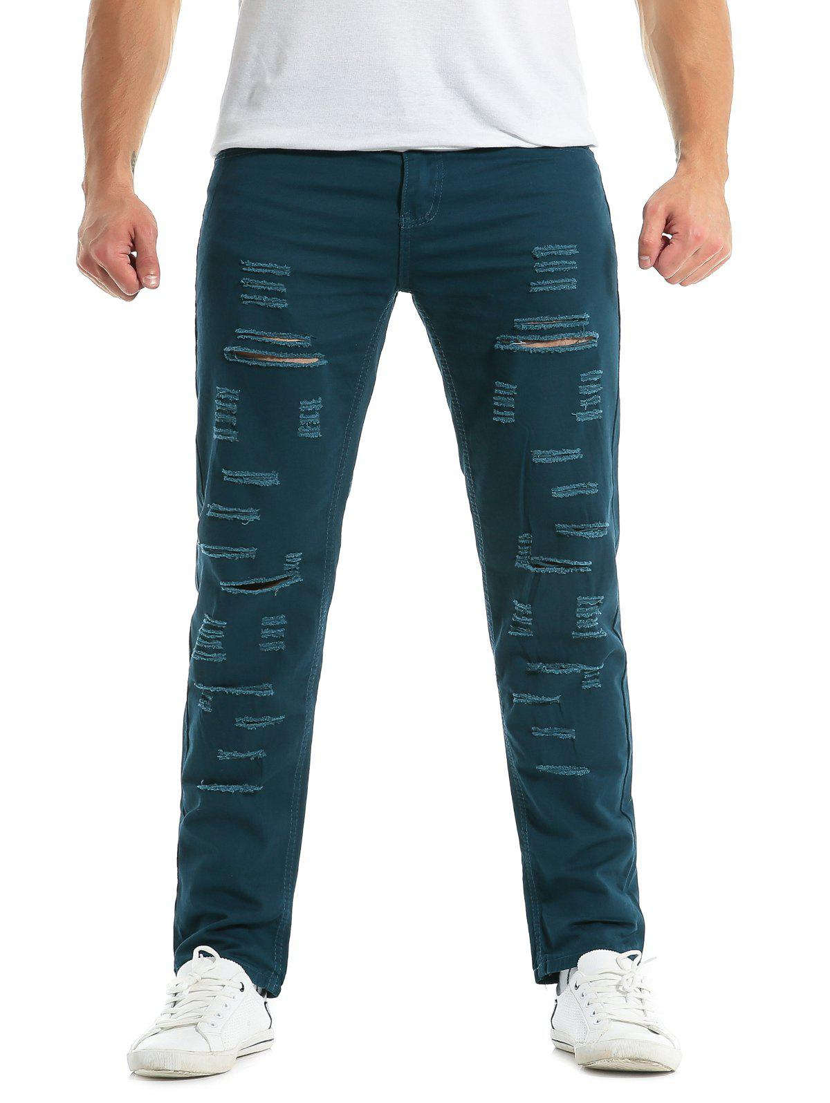 Shops Zipper Fly Distressed Solid Color Jeans