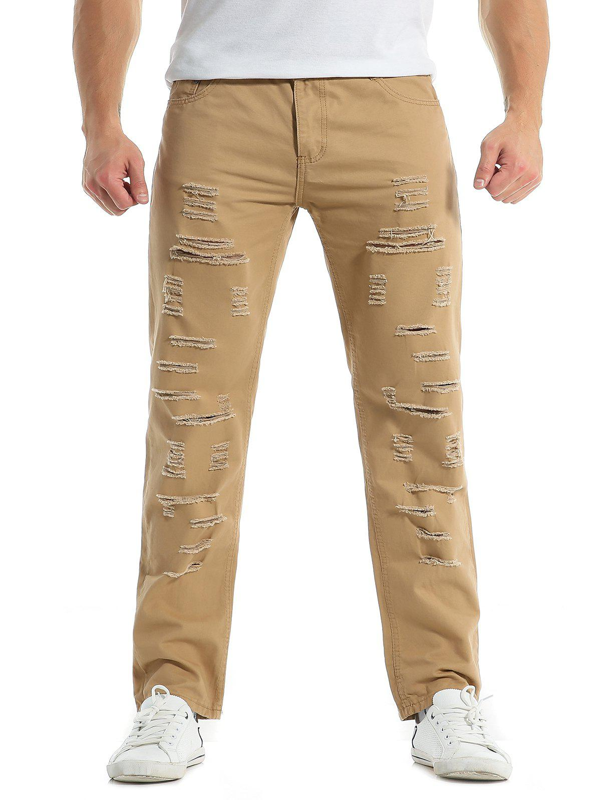 Unique Zipper Fly Distressed Solid Color Jeans