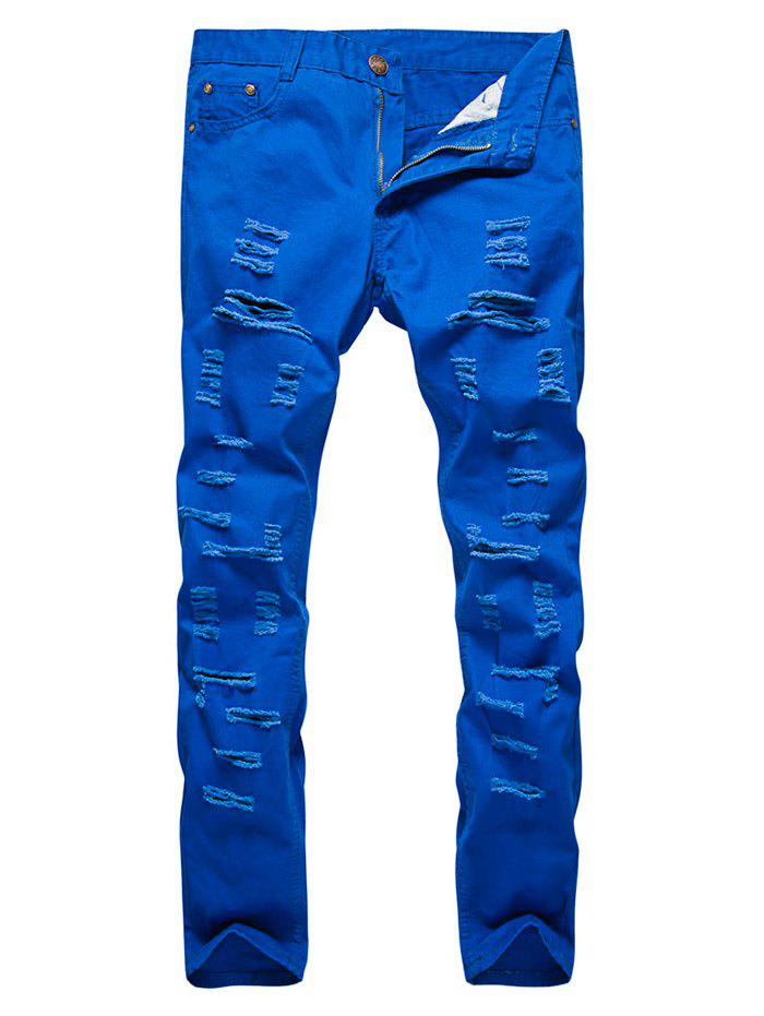 Store Zipper Fly Distressed Solid Color Jeans