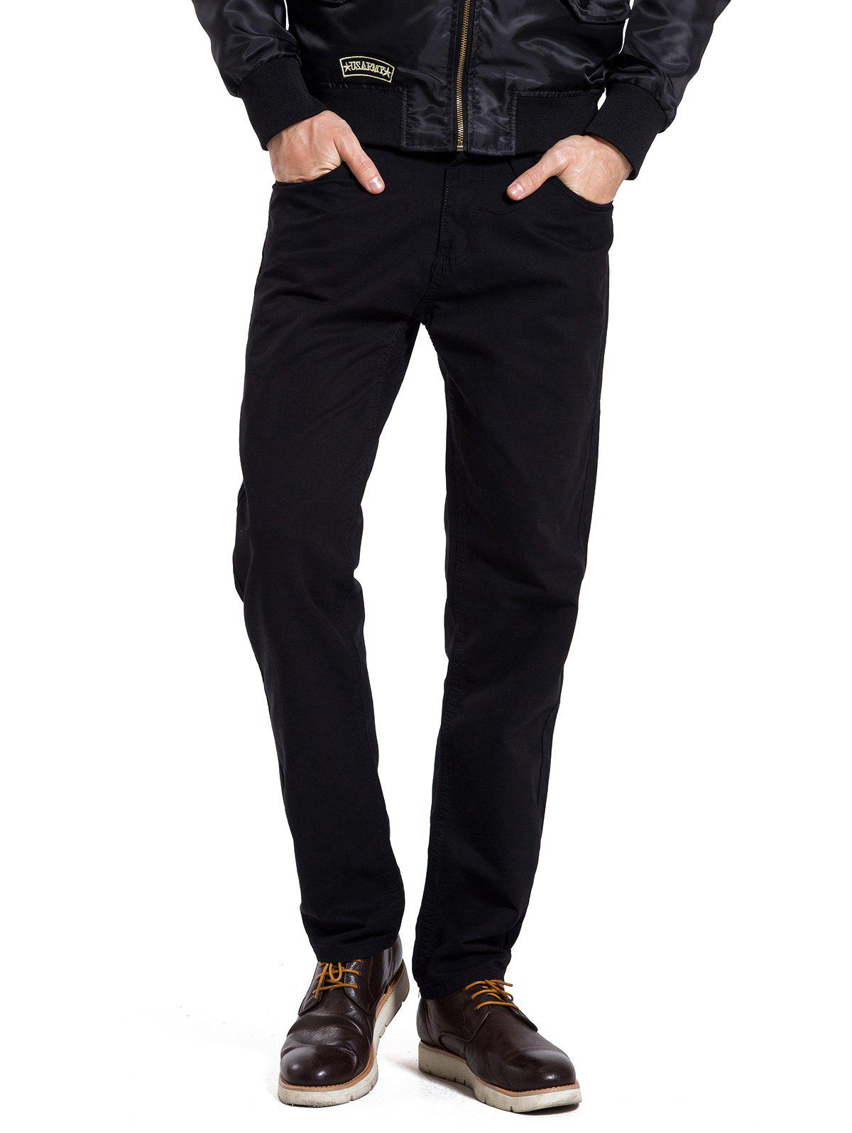 Fancy Zipper Fly Straight Leg Casual Pants