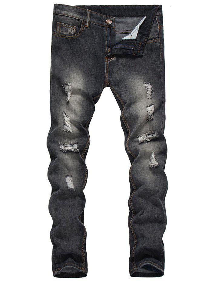 Unique Zip Fly Dark Wash Destroy Tapered Jeans