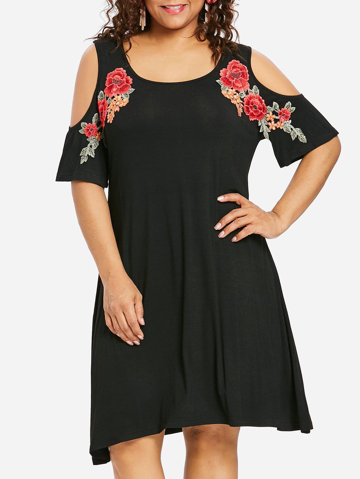 Fancy Plus Size Embroidery Knee Length Tee Dress