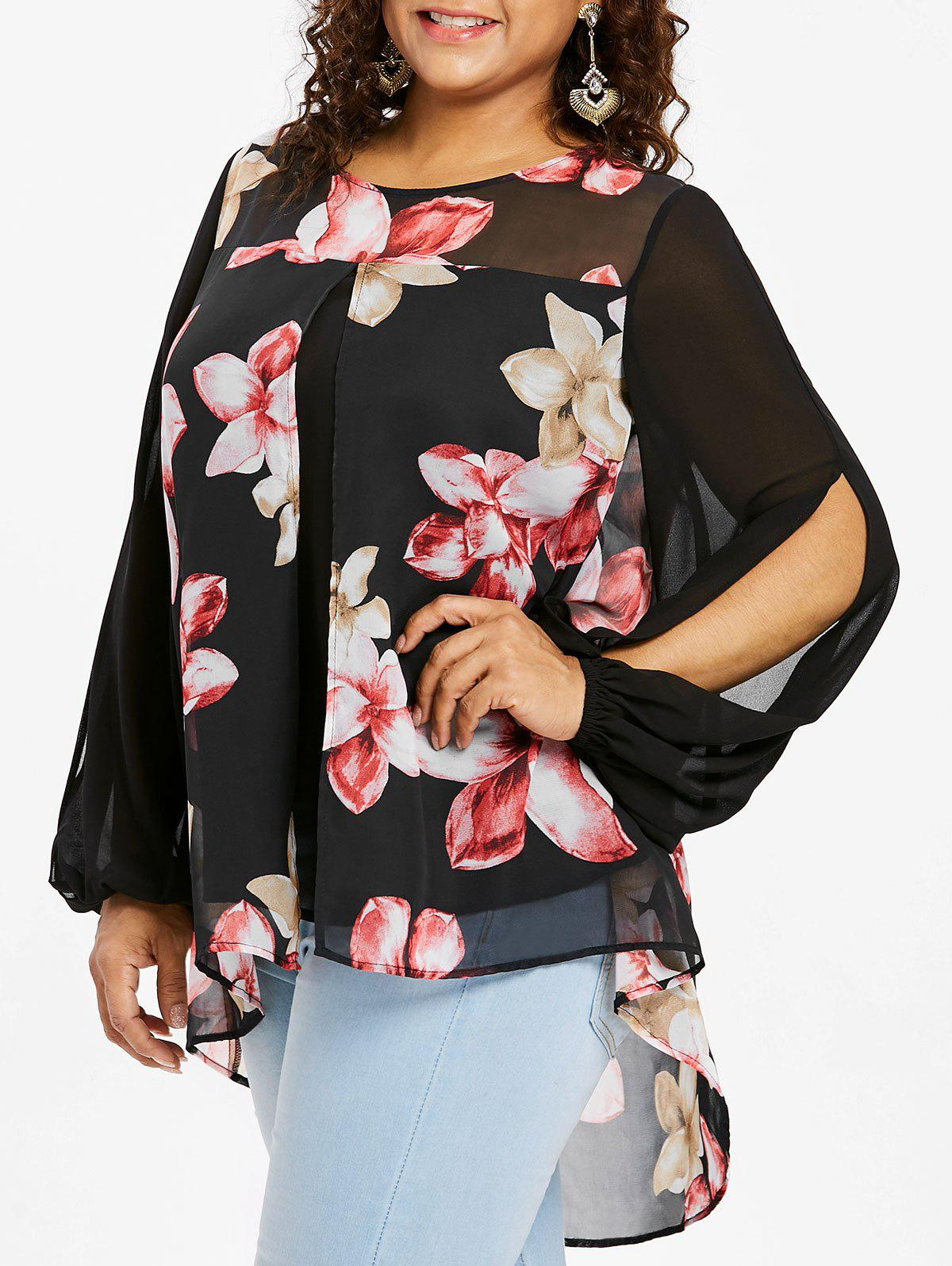 Cheap Plus Size Floral Lantern Sleeve Flyaway Blouse