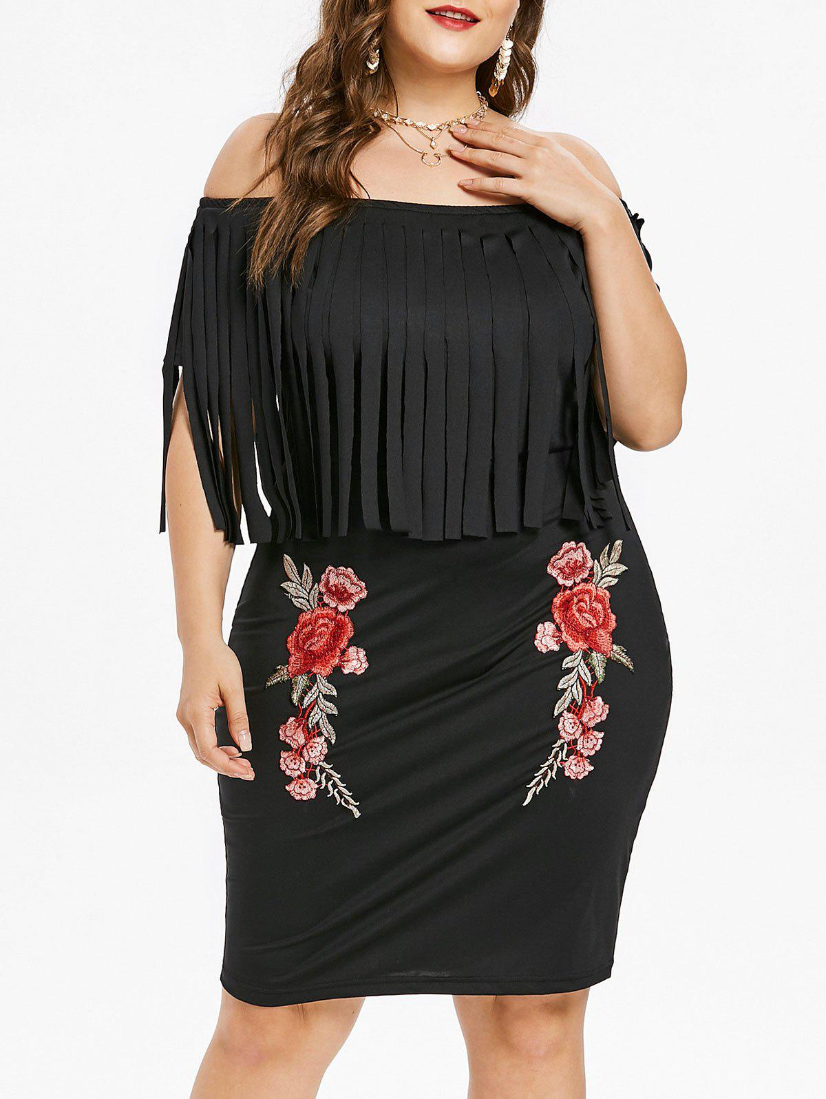 Sale Plus Size Flower Embroidered Fringed Dress
