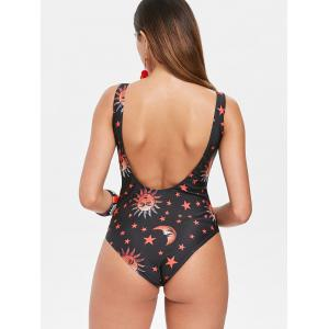 Criss Cross Print One Piece Swimsuit -