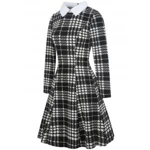 Flat Neck Plaid Print Fit and Flare Dress -