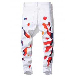 Stretchy Oil Paint Print Zip Fly Jeans -