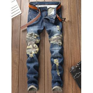 Camo Patchwork Distressed Destroyed Straight Jeans -