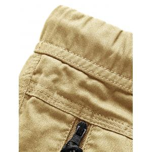 Zip Pockets Elastic Waist Bermuda Shorts -