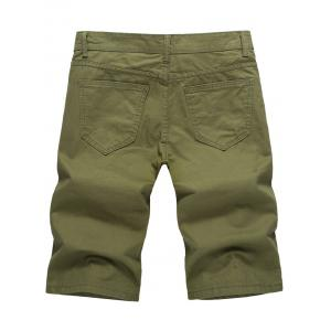 Casual Solid Color Zip Fly Shorts -